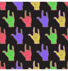 Rock hands coloful seamless pattern vector image