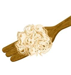 Sauerkraut on wooden spoon vector