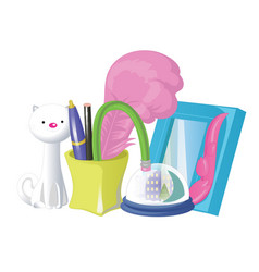 school and office supplies set with colorful vector image