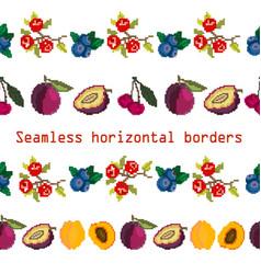 Seamless border brush ribbon of plum cherry vector