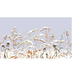 Seamless border with meadow plants under snow vector