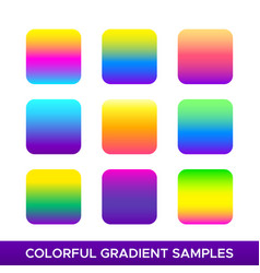 set colorful gradient samples vector image