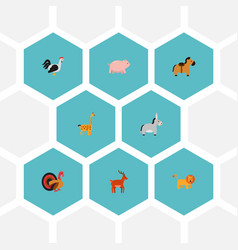 Set of alive icons flat style symbols with deer vector