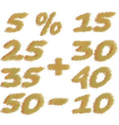 set of different numbers of discounts pencil vector image