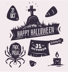 set of halloween badges vector image