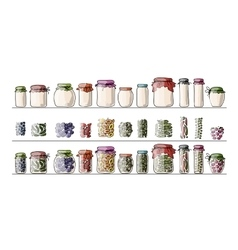 Set of pickle jars with fruits and vegetables vector