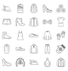 Sewing of footwear icons set outline style vector