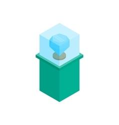 Showcase with blue diamond icon vector