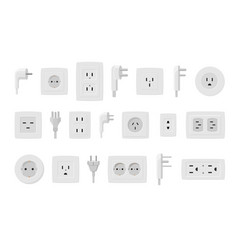 Sockets and plugs set white electrical connectors vector