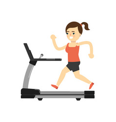 sporty girl in sportswear running on treadmill vector image