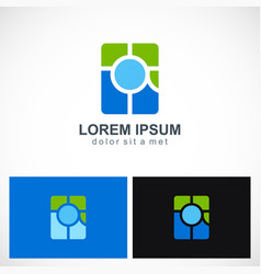 square abstract round colored logo vector image