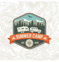 summer camp concept for shirt or logo vector image