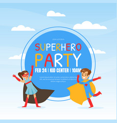 superhero party invitation template happy vector image