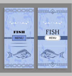 template of fish menu cover with fishery icon vector image