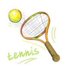 Tennis racket and ball 1 vector