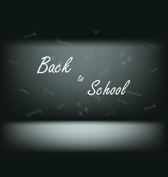 text on the wall back to school and different vector image
