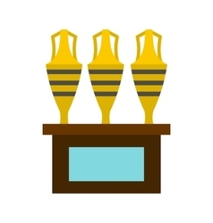 Three egyptian vases icon flat style vector image