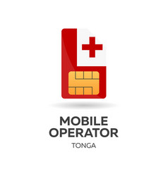 Tonga mobile operator sim card with flag vector