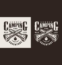 Vintage monochrome summer camping logo vector