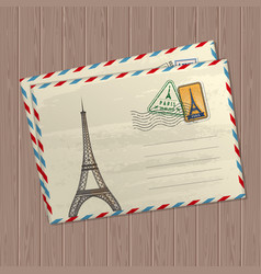 vintage style letters with eiffel tower vector image