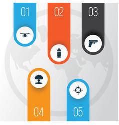 Warfare icons set collection of slug target vector