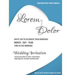 Wedding invitation is soft blue and white color vector