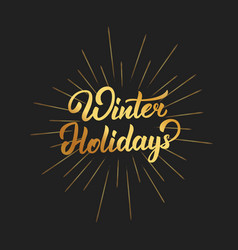 winter holidays text lettering design christmas vector image