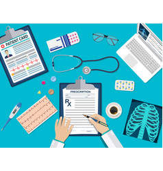 Workplace doctor at table vector