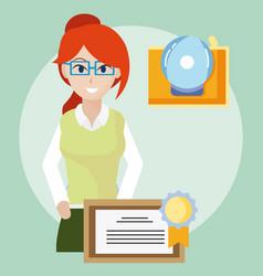 Young teacher cartoon vector