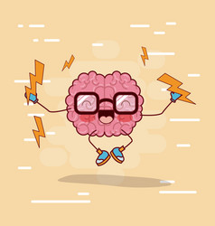 brain cartoon with glasses and jumping with vector image vector image