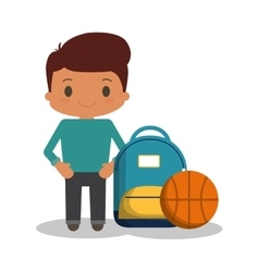 cartoon boy student blue bag ball basketball vector image