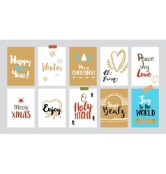 Christmas tags with sketches and greetings vector