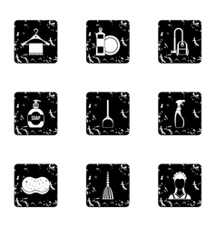 Cleansing icons set grunge style vector image