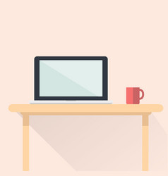 computer notebook flat design with red cup vector image