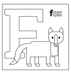 Fox letter F coloring page vector image vector image