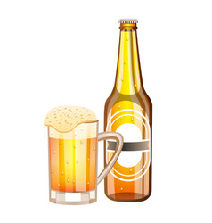 bottle and glass with light beer vector image