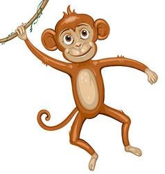 Cartoon monkey hanging in tree vector image