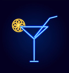 cocktail glass with straw neon vector image