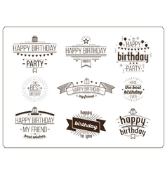 Festive Happy Birthday set vector image vector image