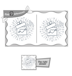 find 9 differences game gift valentine vector image