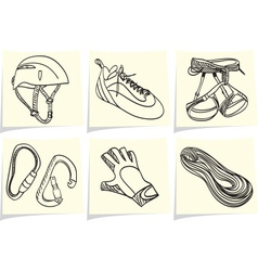 Mountain climbing accessories and equipment on yel vector image