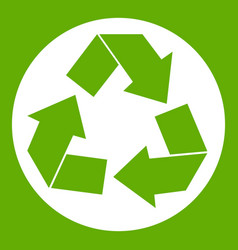 recycle sign icon green vector image