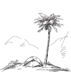 Sketch of camping tent vector image
