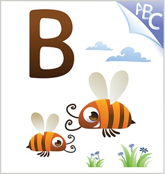 Animal alphabet for the kids B for the Bee vector image