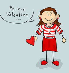Be my Valentine woman cartoon vector image vector image