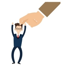 hand holding businessman with raised hands icon vector image