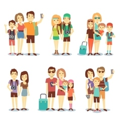 Happy couple family people tourists vector image vector image