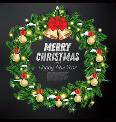 christmas wreath with green fir branch light vector image vector image
