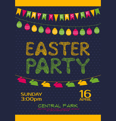 easter party invitation poster template vector image