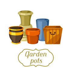 garden pots background with various color vector image
